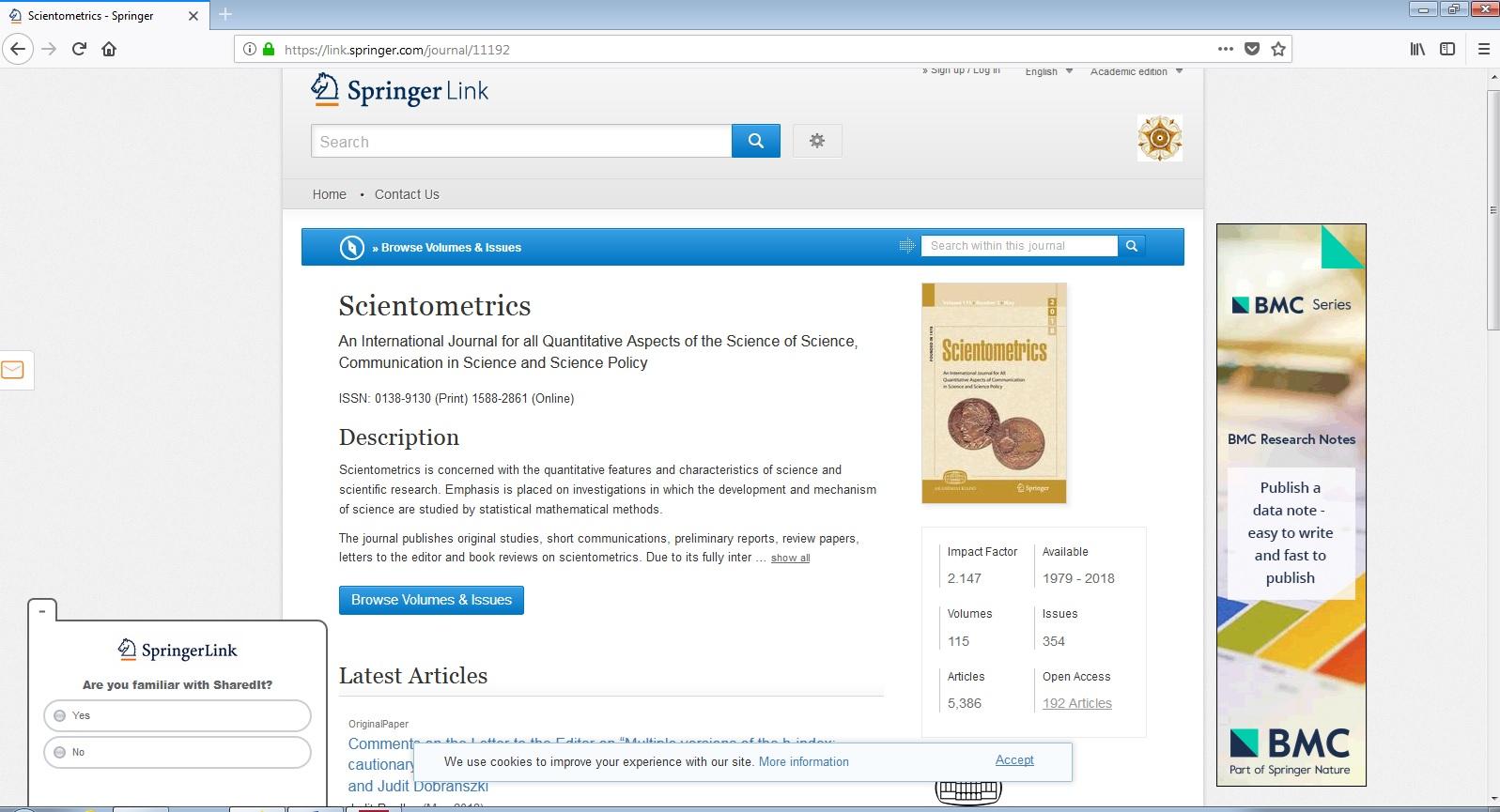 Scientometrics Jurnal Internasional Yang Mengkaji Aspek Kuantitatif Publikasi Ilmiah Oleh Maryono
